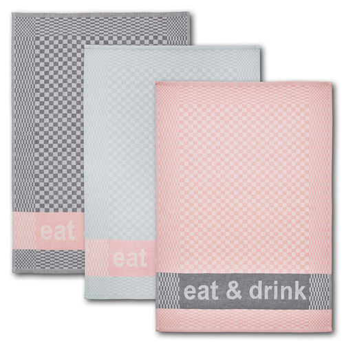 Dyckhoff Geschirrtuch 3er Set 'eat & drink'  50 x 70 cm