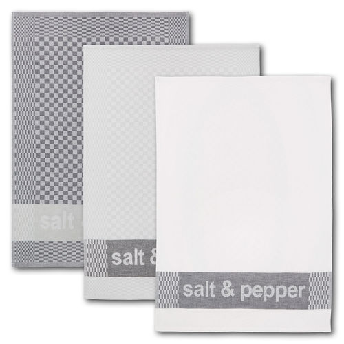 Dyckhoff Geschirrtuch 3er Set 'salt & pepper'  50 x 70 cm